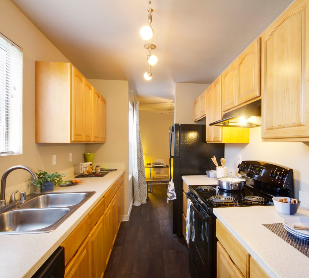 Kitchen with plenty of cabinet space at The Carriages at Fairwood Downs in Renton, Washington