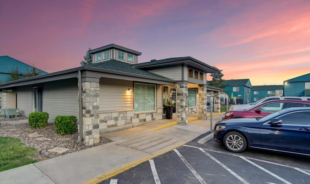Exterior view of the leasing center at Stratus Townhomes in Westminster, Colorado