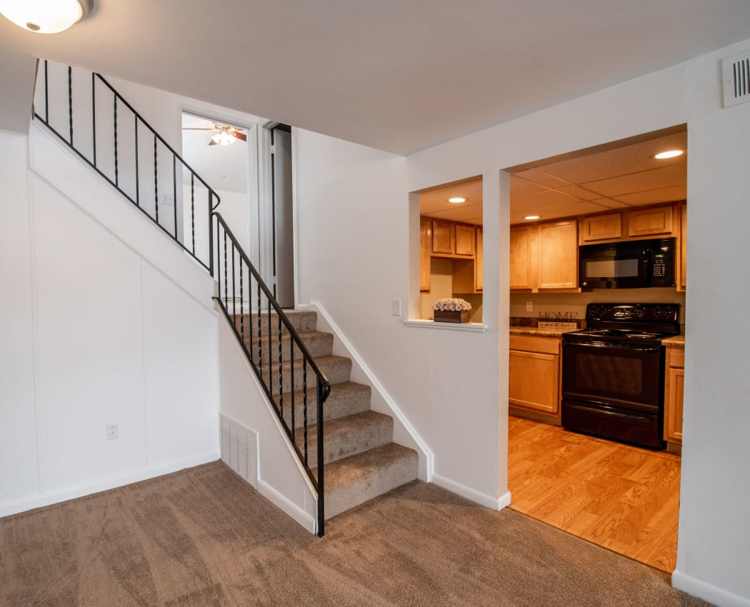 View of kitchen with cut out at Eagles Pointe Townhomes in Liverpool