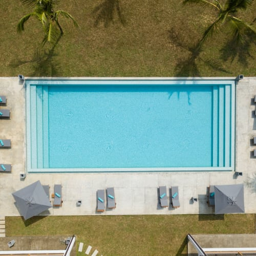 Aerial view of the swimming pool at El Potrero Apartments in Bakersfield, California