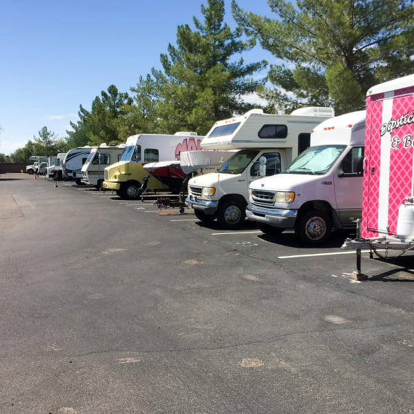 RVs parked at StorQuest Self Storage in Parker, Colorado