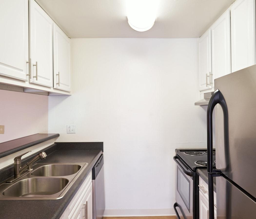 Kitchen with stainless-steel appliances at Villa Ramona in Monterey, California