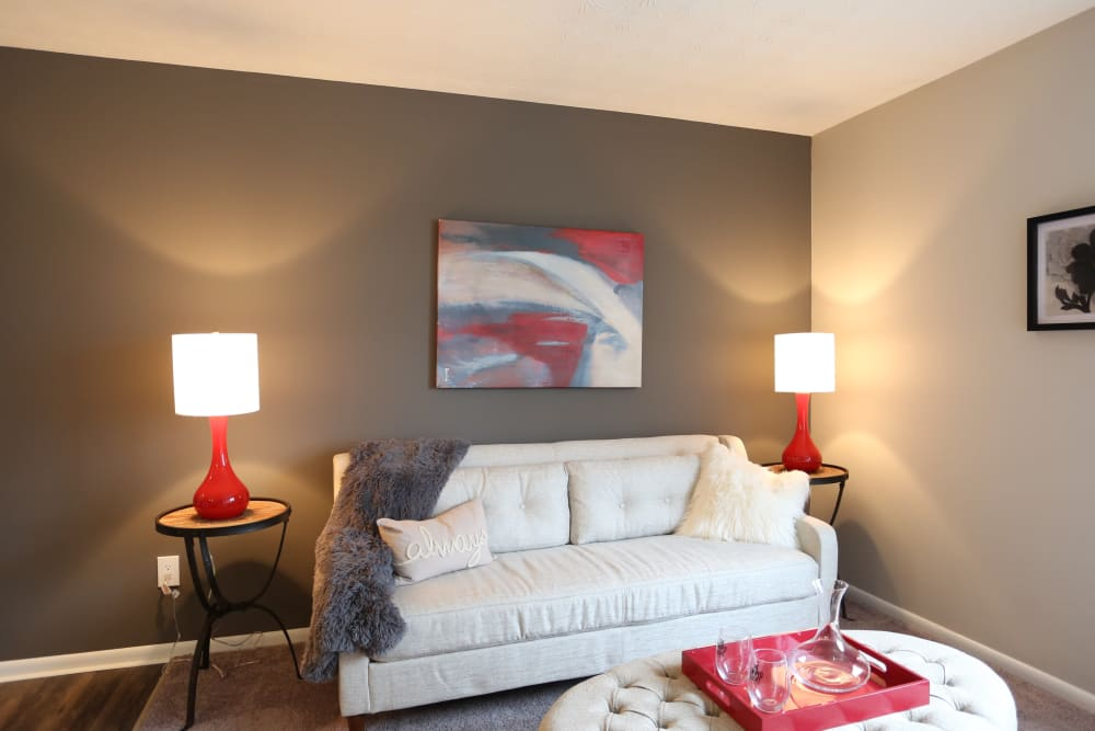 A furnished apartment living room at Fox and Hounds Apartments in Columbus, Ohio