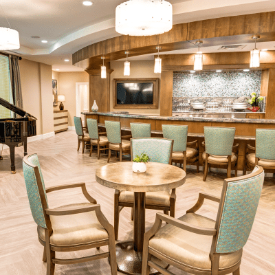 Bistro lounge available in communities at Milestone Retirement Communities