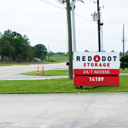 Sign at the street entrance of Red Dot Storage in Hammond, Louisiana