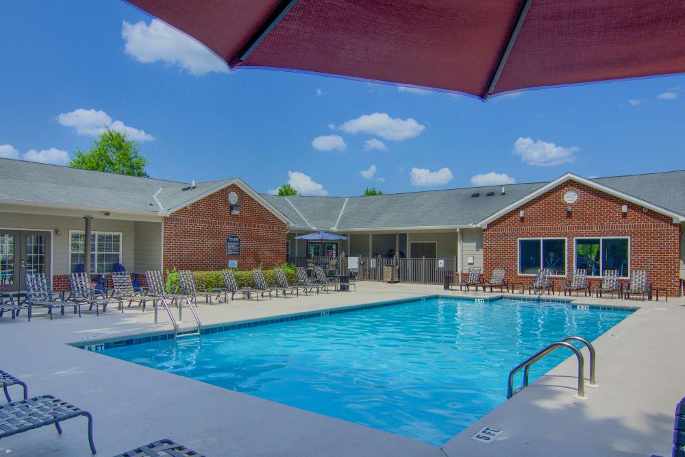 Pool deck at Lancaster Place in Calera, Alabama