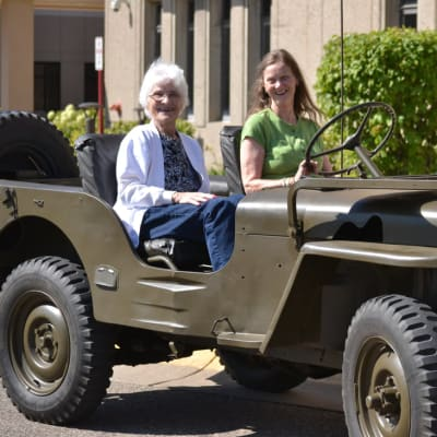 A resident taking a ride in a jeep at Ebenezer Ridges Campus in Burnsville, Minnesota