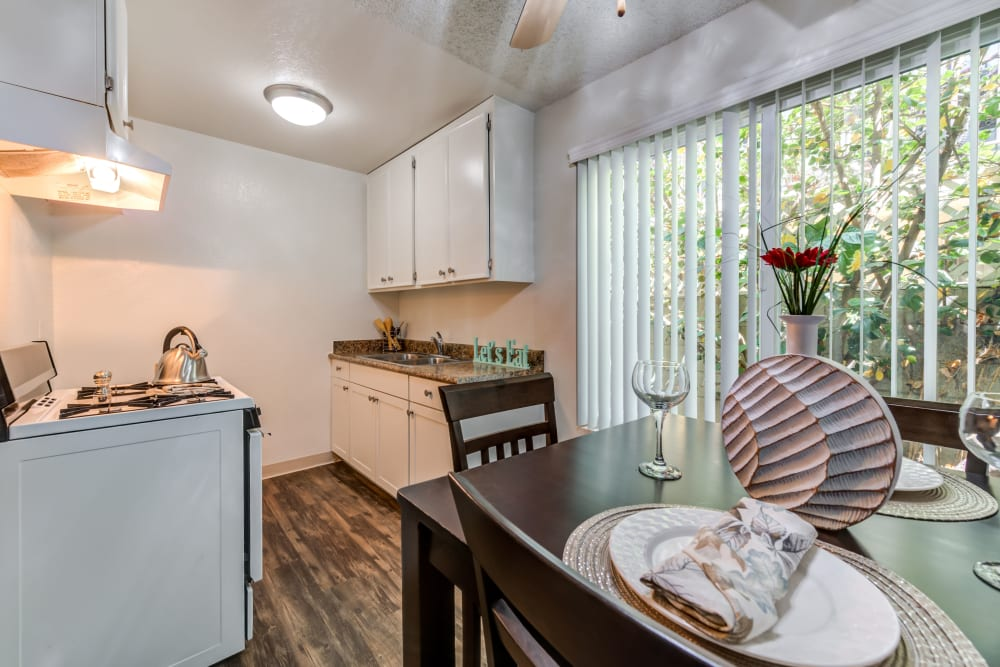 Townhome kitchen at The Embassy Apartments