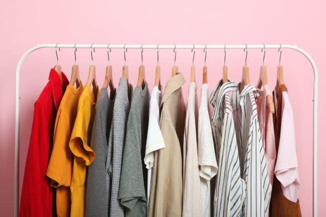 store clothes that are hanging