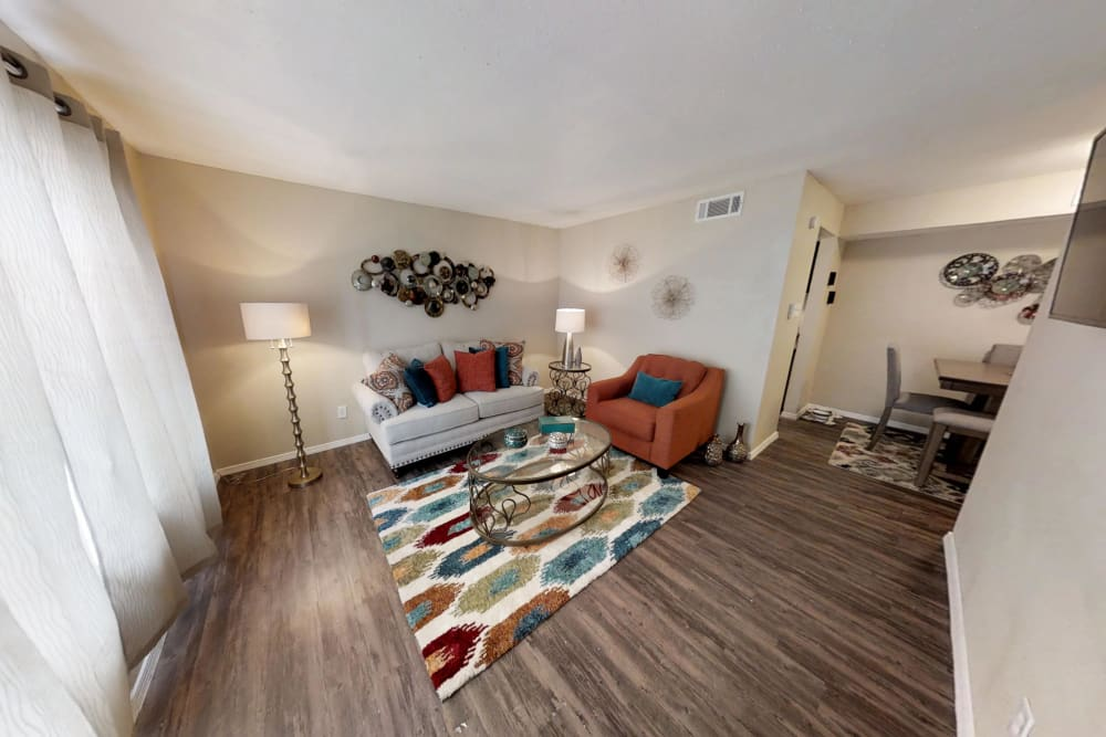 Maple Trail Apartments & Townhomes offers a spacious living room in Pasadena, Texas