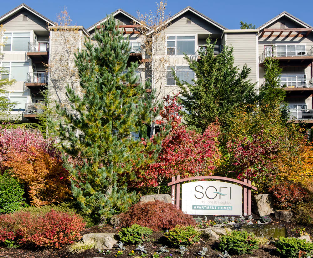 Our sign welcoming residents home to our wooded location at Sofi at Forest Heights in Portland, Oregon
