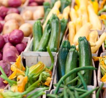 Fresh vegetables at a farmer's market near Patriots Crossing in Newport News, Virginia