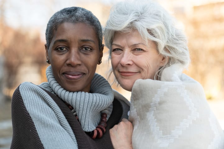 Same sex elderly female couple