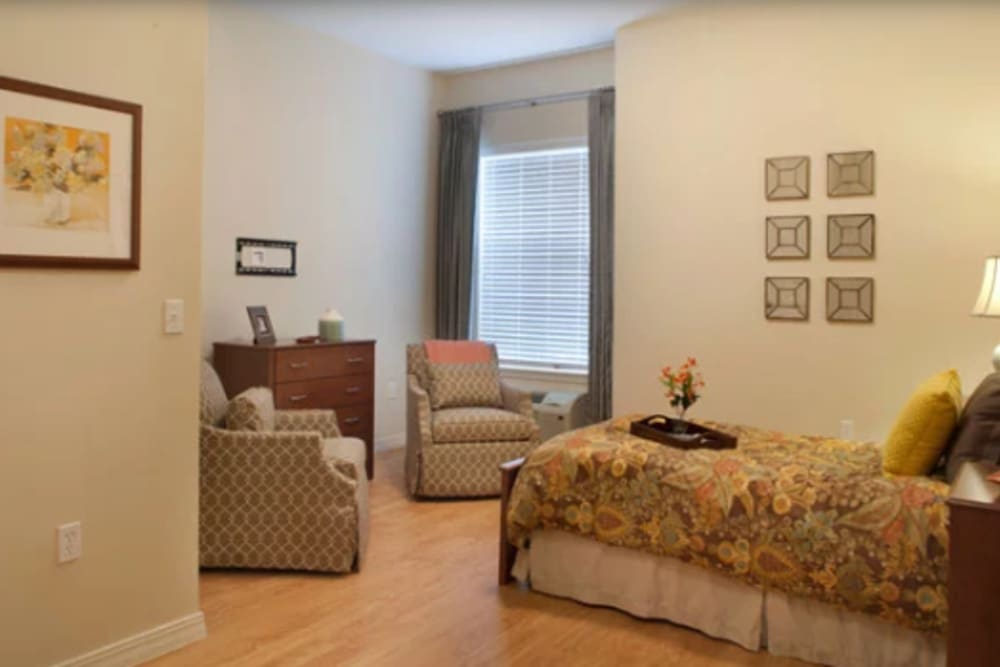 A studio apartment at Ortega Gardens Alzheimer's Special Care Center in Jacksonville, Florida