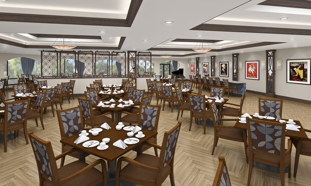 Rendering of restaurant style dining at Seasons Memory Care at Rolling Hills in Torrance, California