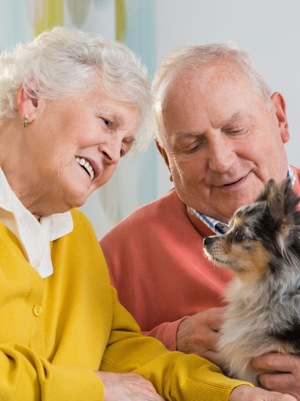 Residents enjoying the company of their dog at Field Pointe Assisted Living in Saint Joseph, Missouri