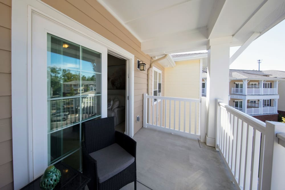 Apartment balcony at Harmony at Wescott Plantation in Summerville, South Carolina