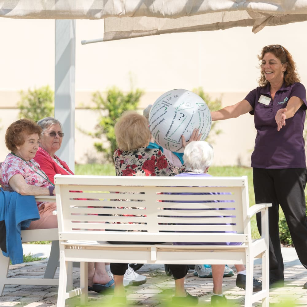 A group game outside at Inspired Living in Sarasota, Florida