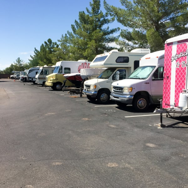 RVs parked at StorQuest Self Storage in Reno, Nevada