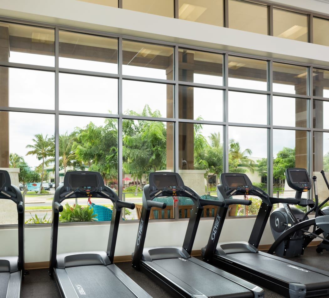 Treadmills with a view in our onsite fitness center at Kapolei Lofts in Kapolei, HI