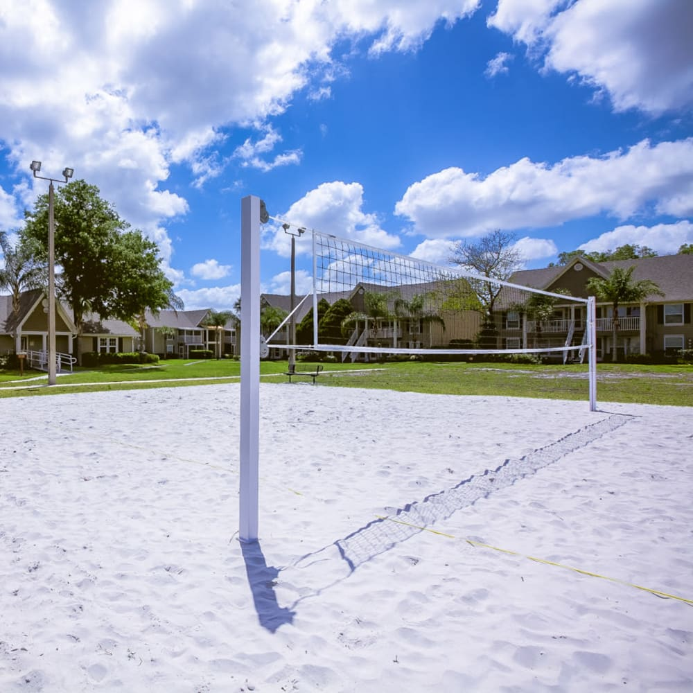 Onsite sand volleyball courts at Signal Pointe Apartment Homes in Winter Park, Florida