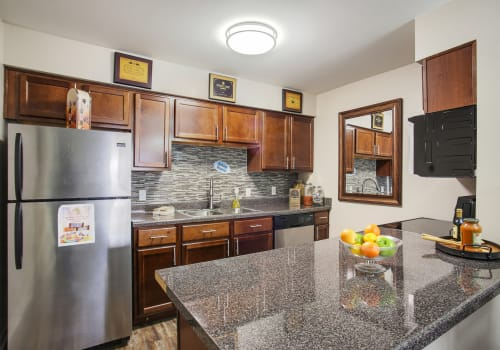 Kitchen with stainless steel appliances at Emerald Pointe Apartment Homes in Harvey, Louisiana