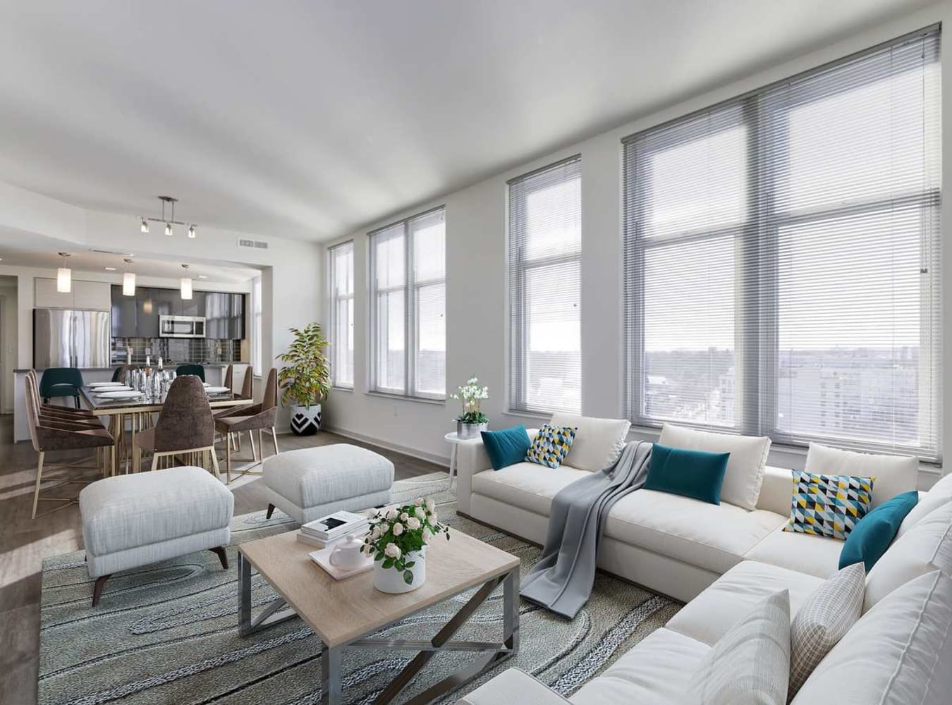 A spacious living room with large windows at Solaire 7077 Woodmont in Bethesda, Maryland