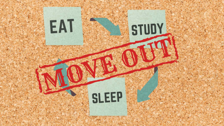 Eat, Sleep, Study, Move out of college housing
