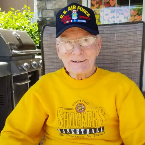 resident smiling at The Oxford Grand Assisted Living & Memory Care in Wichita, Kansas
