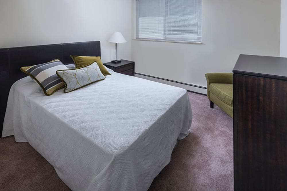 Alternative view of model bedroom at Haddonview Apartments