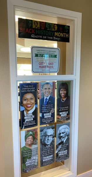 Merrill Gardens at Monterey (CA), set up their Black History Month display in their office window.