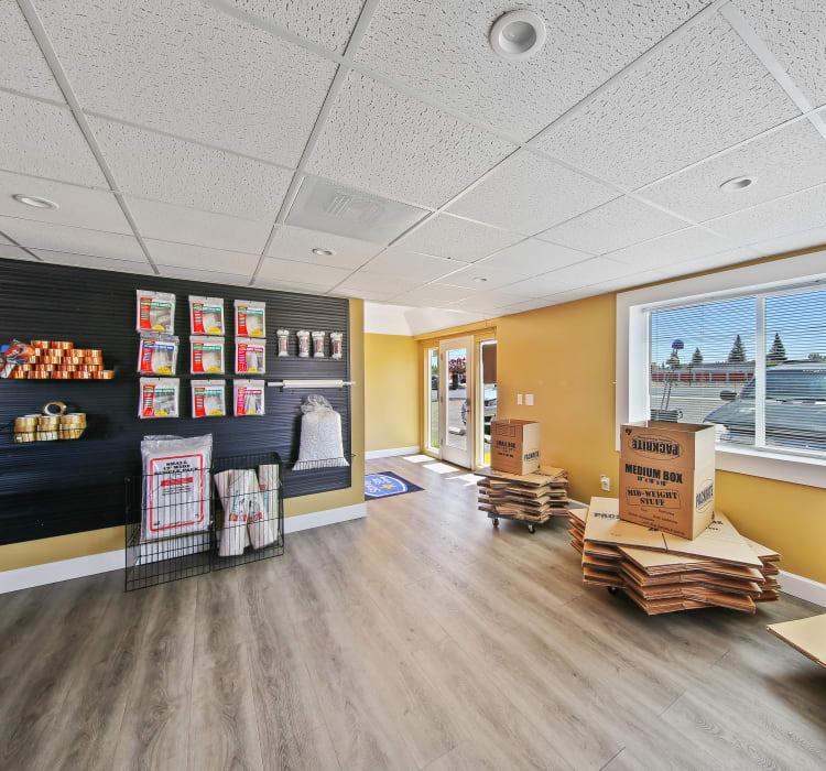 Bright and clean interior storage unit hallway at Storage Star Rancho Cordova in Rancho Cordova, California