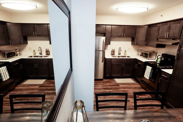 Kitchen layout at Halcyon House in Denver, Colorado