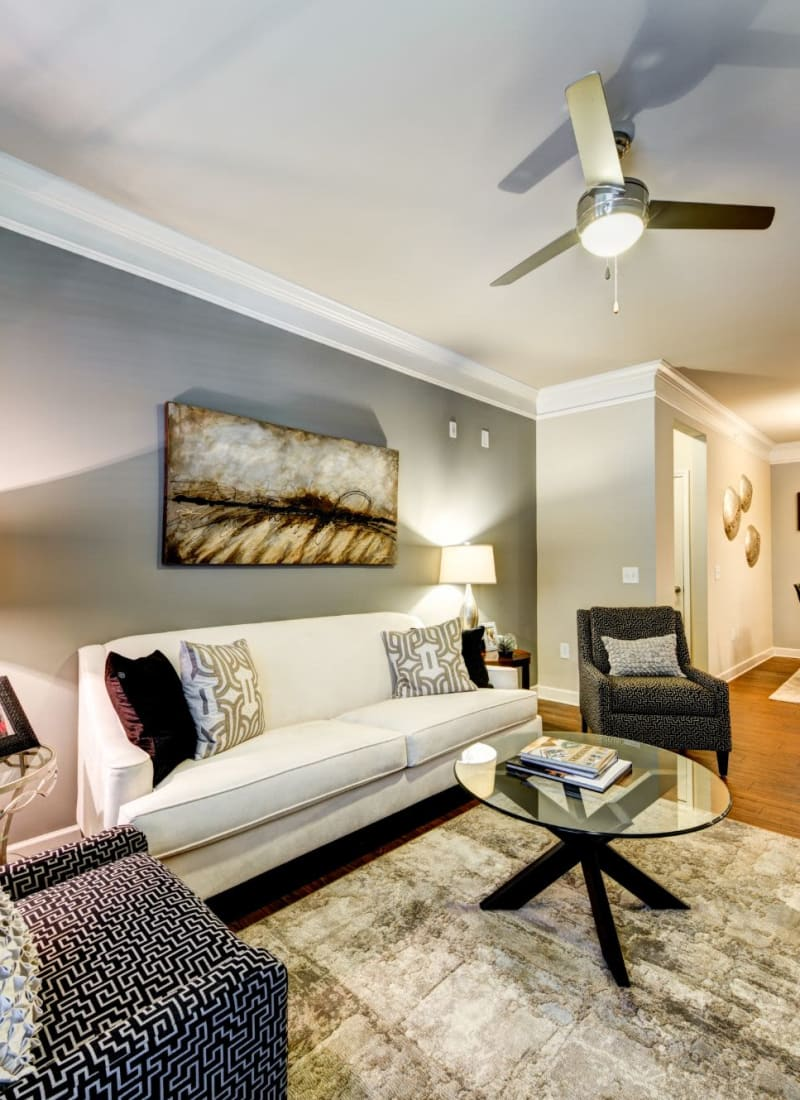 Modern and comfortable living room at Marquis at Morrison Plantation in Mooresville, North Carolina
