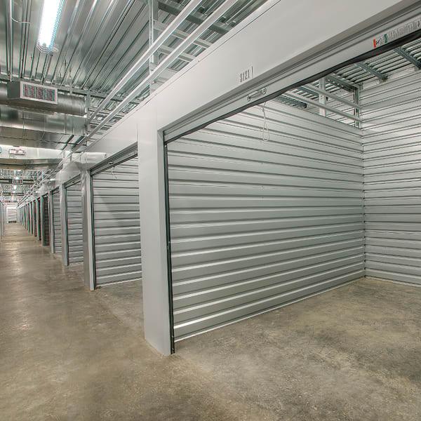 Open indoor storage units at StorQuest Self Storage in Port Chester, New York