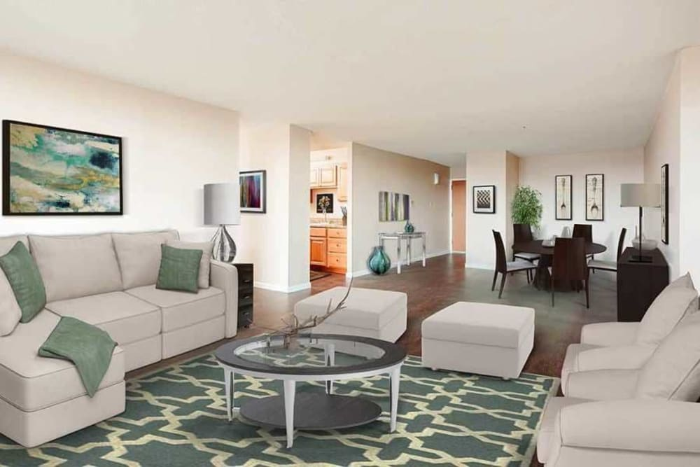 Beautifully designed living room at Towers on the Hudson in Troy, New York