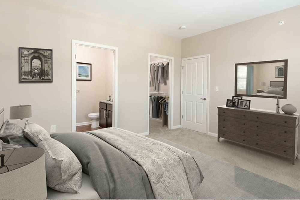 Spacious bedroom at Canal Crossing in Camillus, New York