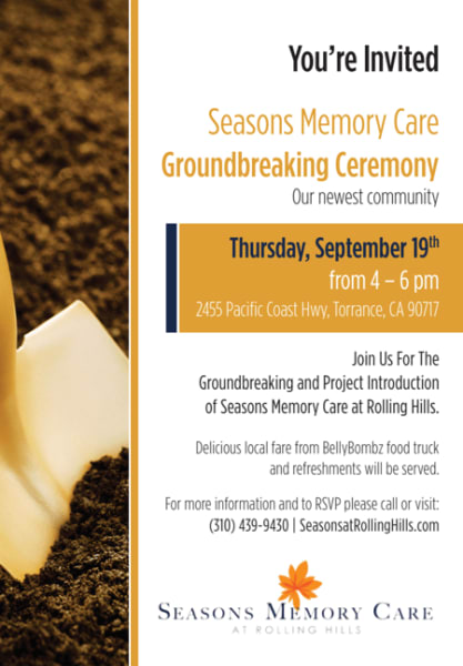Invitation to groundbreaking ceremony September 19th from 4 til 6 PM