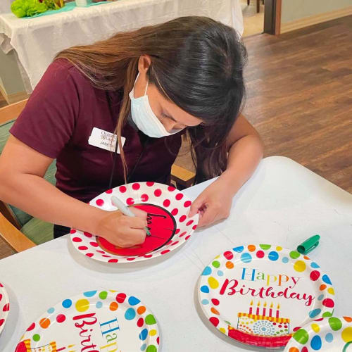 A team member at Oxford Glen Memory Care at Sachse in Sachse, Texas