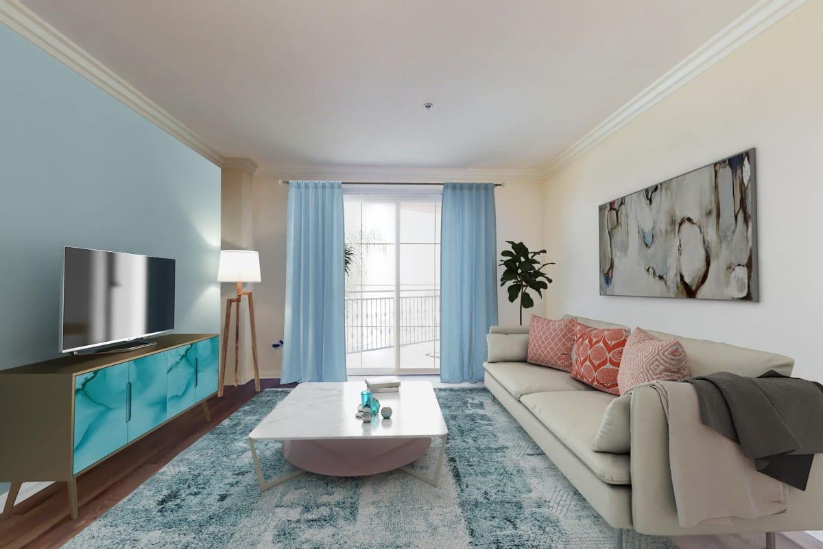 Waterfront one-bedroom apartment with plank flooring and balcony with marina view at The Villa at Marina Harbor in Marina del Rey, California