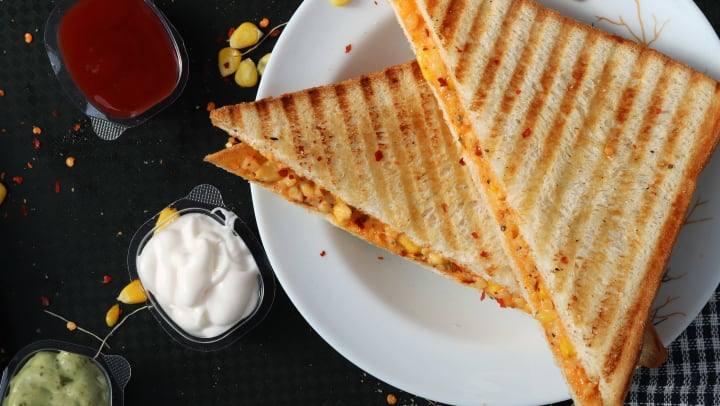 Grilled cheese sandwich and condiments from the Grilled Cheeserie near Olympus Hillwood in Murfreesboro, Tennessee