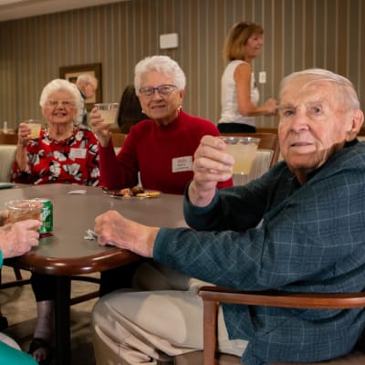 Residents at a social event at Aurora on France in Edina, Minnesota.