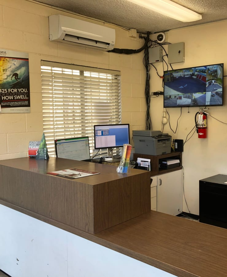 Interior of the leasing office at StorQuest Self Storage in Los Angeles, California