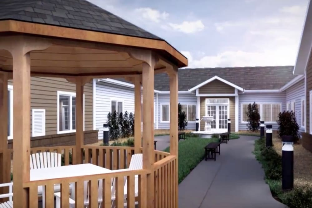 A rendering of a gazebo in the courtyard at Harmony at Hope Mills in Fayetteville, North Carolina