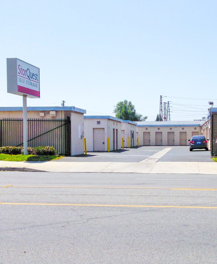 Street view of the main entrance at StorQuest Self Storage in Lakewood, California