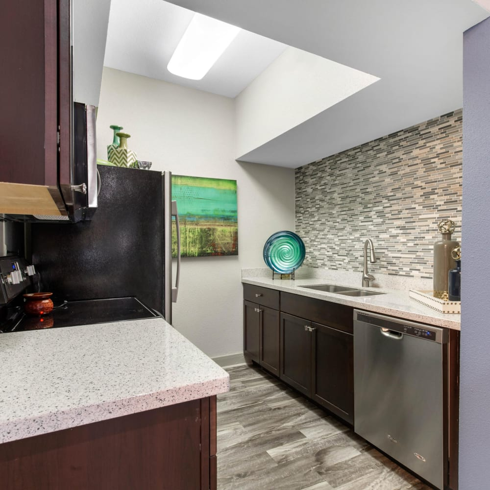Clubhouse kitchen for entertaining guests at Finley West in Houston, Texas