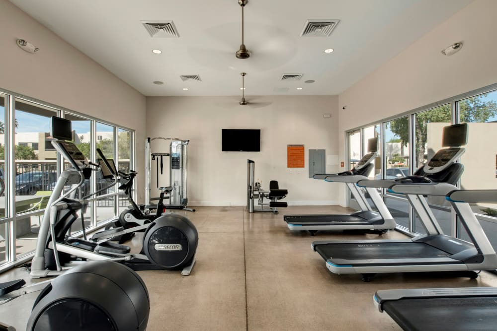 Spin and yoga room at Avia McCormick Ranch Apartments in Scottsdale, Arizona