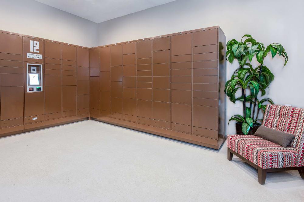 Residents package lockers at Villas in Westover Hills in San Antonio, Texas
