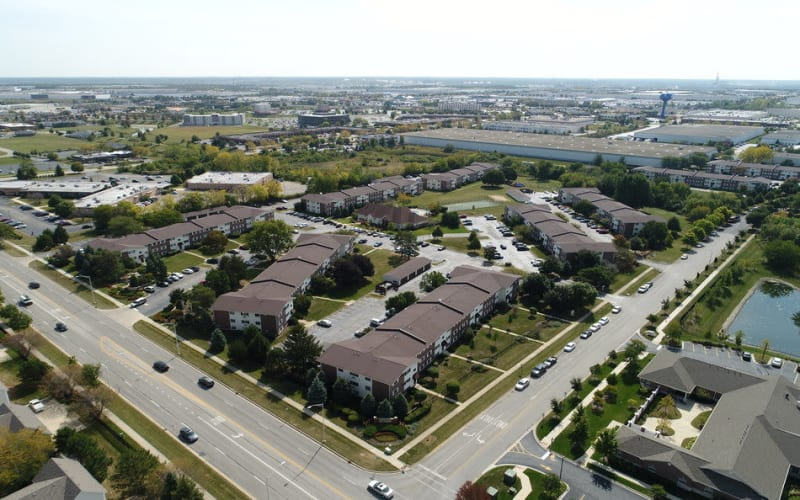 Aerial view of the property at Riverstone Apartments in Bolingbrook, Illinois