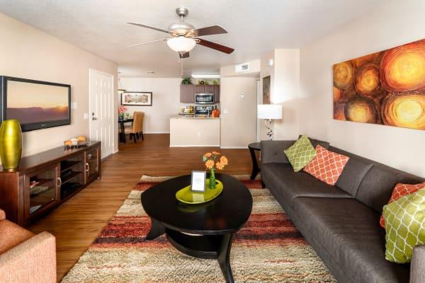 Spacious living room at The Palisades at Paradise Valley Mall in Phoenix, Arizona